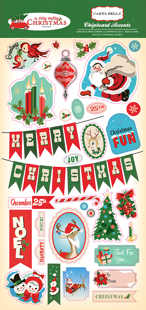 CBVMC72022 A Very Merry Christmas 6x12 Chipboard