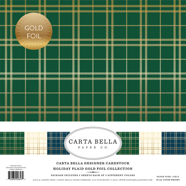 Holiday Plaid Gold Foil
