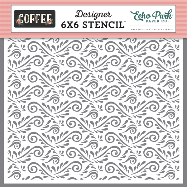 CO164034 Coffee Flourish Stencil