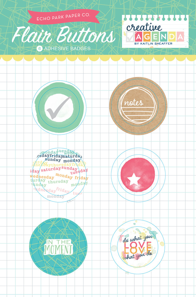 Creative Agenda Flair Buttons Packaging