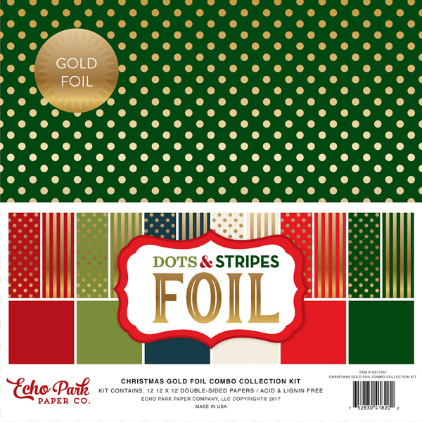 Christmas Dots & Stripes Gold Foil