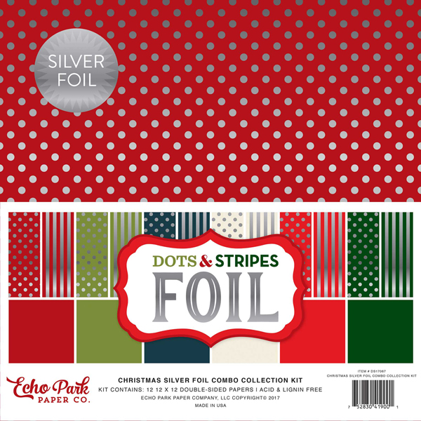 Christmas Dots & Stripes Silver Foil