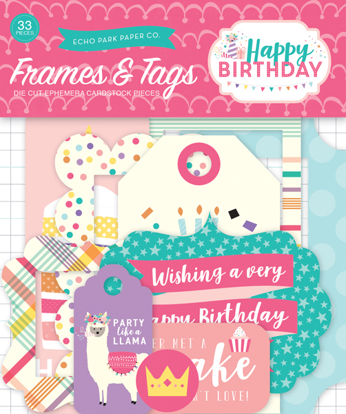 HBG140021 Happy Birthday Girl Frames and Tags Ephemera