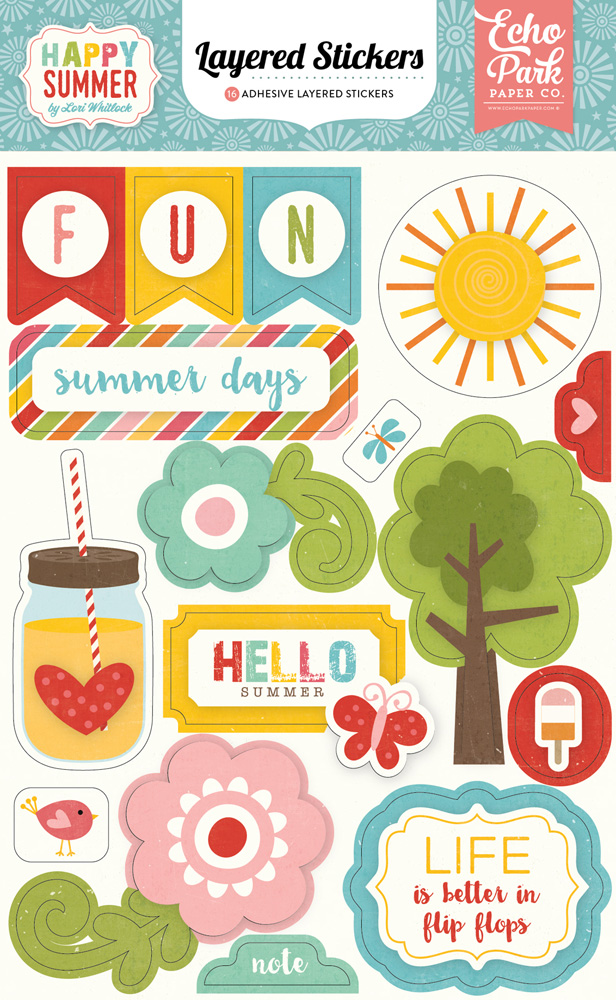 HS105025 Happy Summer Layered Stickers