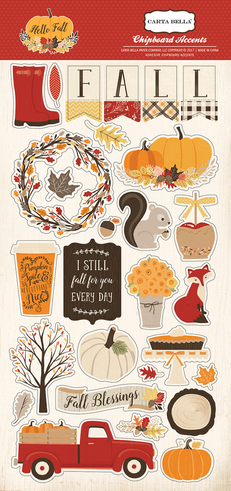 CBHF70022 Hello Fall 6x12 Chipboard