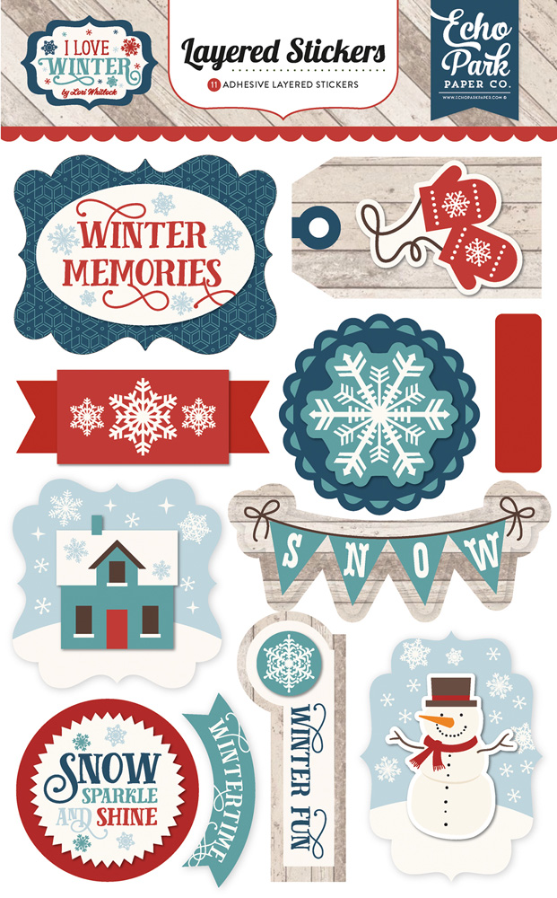 ILW115025 I Love Winter Layered Stickers
