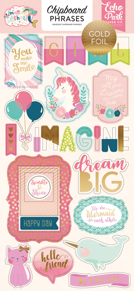 ITG146022 Imagine That Girl 6x13 Chipboard Phrases