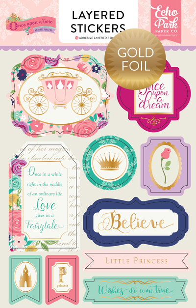 OUG122025 Once Upon A Time - Princess Layered Stickers - Foil