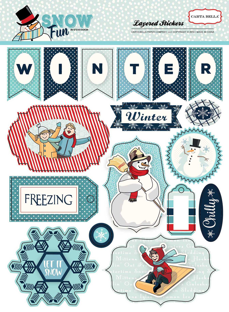 CBSF59025 Snow Fun Layered Stickers