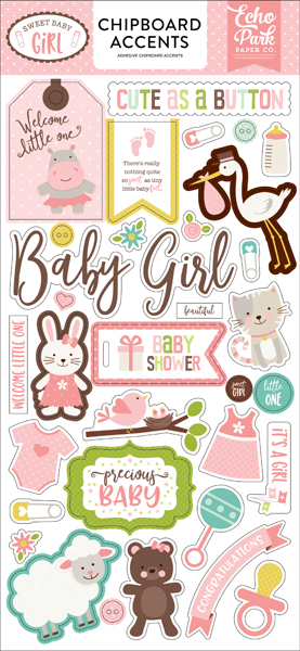 SBG142021 Sweet Baby Girl 6x12 Chipboard Accents